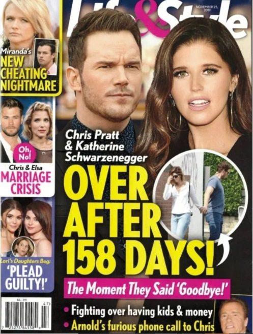 克里斯普萊特與凱薩琳史瓦辛格結婚不到半年就被雜誌指「快玩完了」。圖/摘自Life...