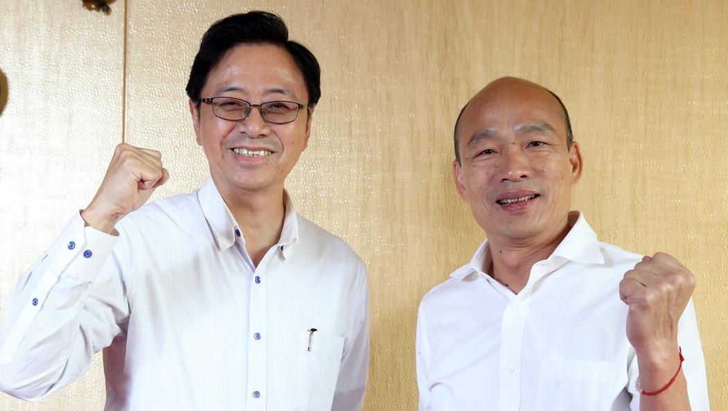 國民黨總統參選人韓國瑜與副手搭檔張善政。本報資料照片