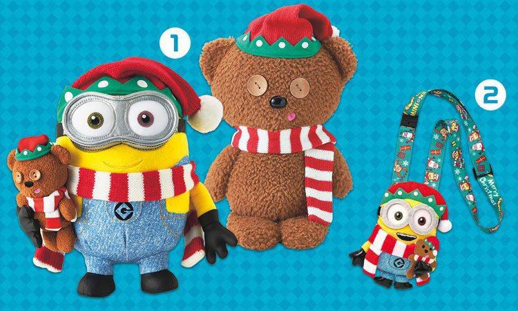 聖誕版的小小兵絨毛娃娃、票卡夾。圖/擷取自日本環球影城官網