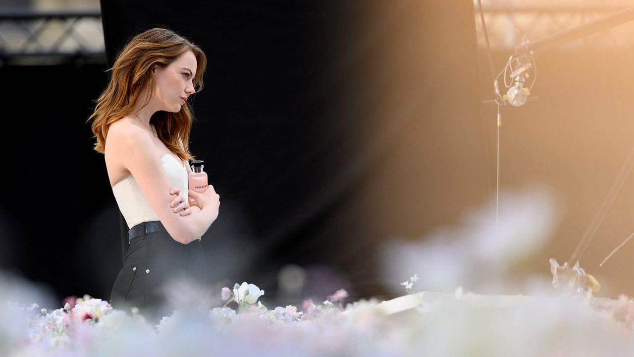 艾瑪史東置身花海的身影相當浪漫。圖/LV提供