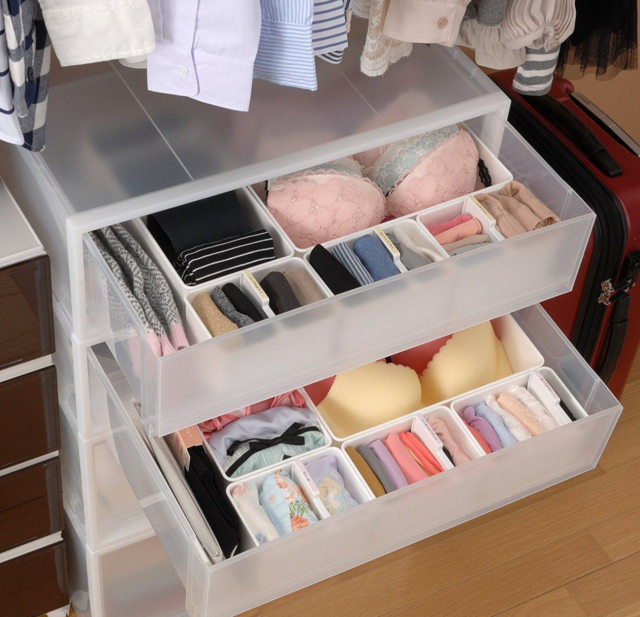 台隆手創館貼身衣物收納盒可將冬天要穿的發熱衣、厚褲襪、內搭褲,絲巾等以分隔收納、...