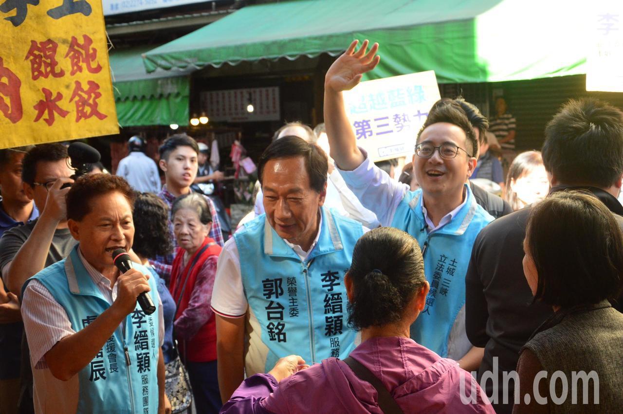 鴻海創辦人郭台銘請大家支持李縉穎,給年輕人機會。記者施鴻基/攝影