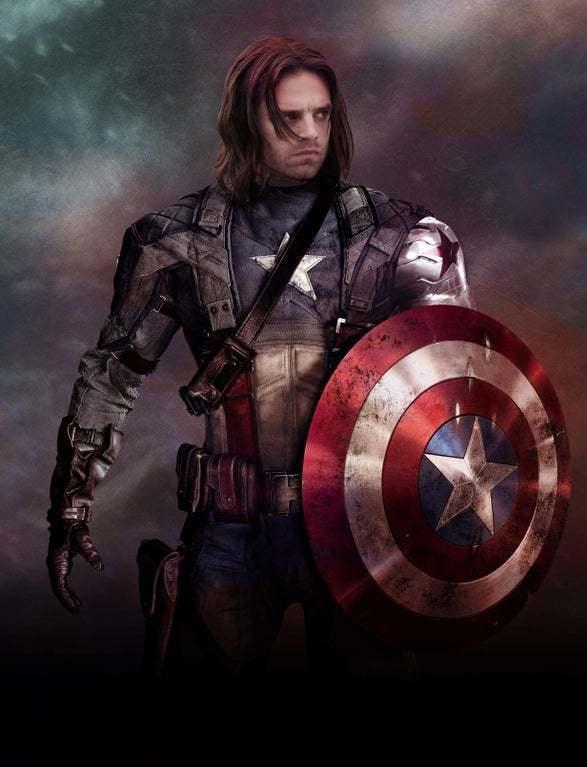 喜歡「酷寒戰士」巴奇巴恩斯的影迷自製海報,讓巴奇接替成為新一代「美國隊長」。圖/