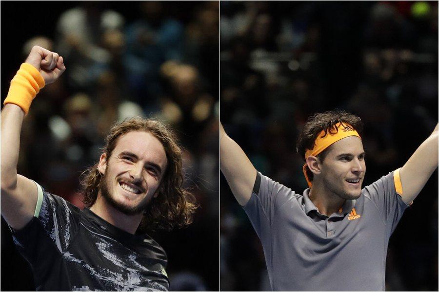 西西帕斯(左)拍落費爸,首度闖年終賽就爭冠,對手是汀恩(右)。 美聯社