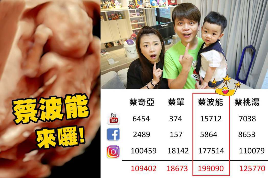蔡阿嘎揭曉二寶的外號網友投票數。 圖/擷自蔡阿嘎臉書
