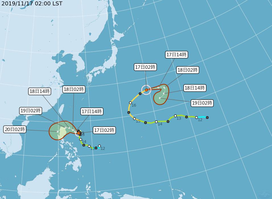 中央氣象局今晨2時路徑潛勢預測圖顯示,第26號颱風海鷗,未來通過呂宋島北端,轉西...