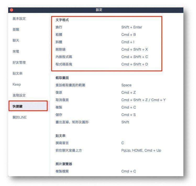 如果想要更多文字效果,電腦版還提供了更多快捷鍵組合可以使用。圖/LINE台灣官方...