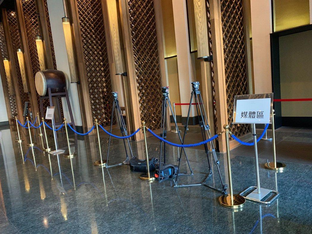 林志玲入住的飯店一樓設置媒體區。記者黃保慧/攝影