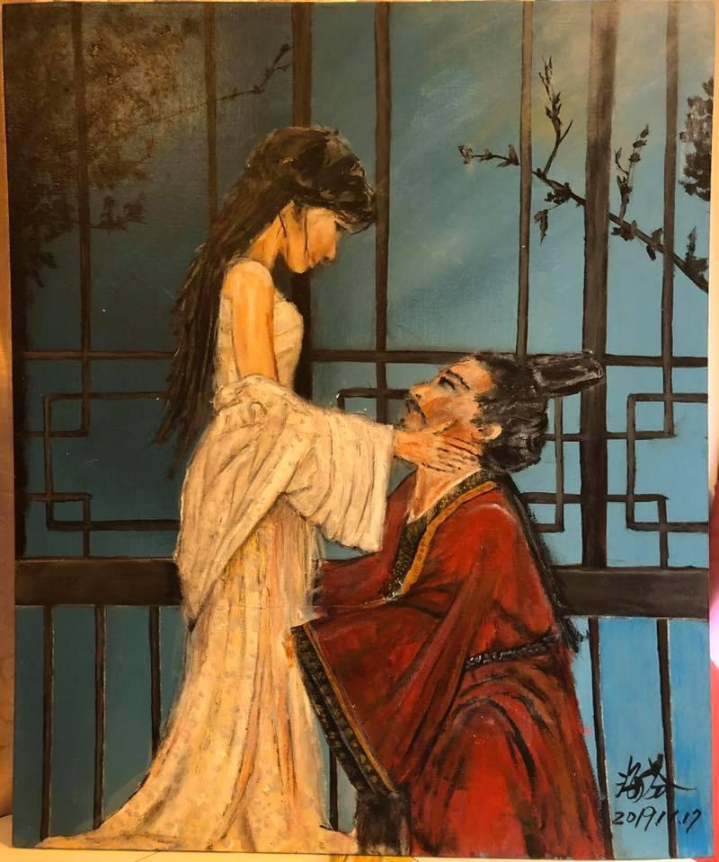 海裕芬作畫送給林志玲當新婚禮物。圖/摘自臉書