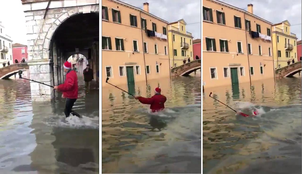 義大利威尼斯發生逾半世紀以來最嚴重洪水,整個城市飽受水災之苦,但這並阻止不了遊客...