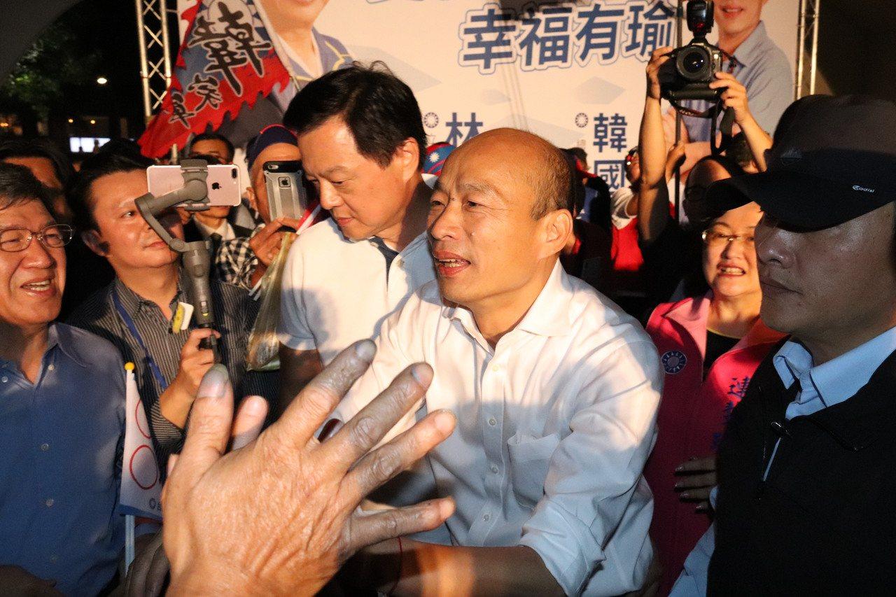 國民黨總統參選人韓國瑜出席輔選立委參選人林德福。記者胡瑞玲/攝影
