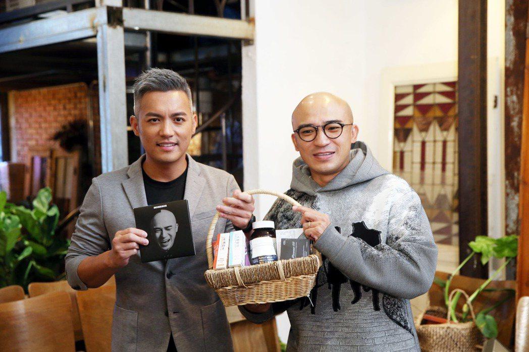 倪子鈞(右)同名專輯「倪子鈞」舉行發片記者會,好友范逸臣(左)站台相挺。記者邱德