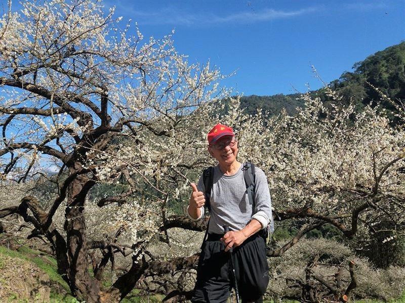85歲的黎振聲熱愛登山,圖為他到南投縣信義鄉的坪瀬林道賞梅。 圖/黎振聲提供