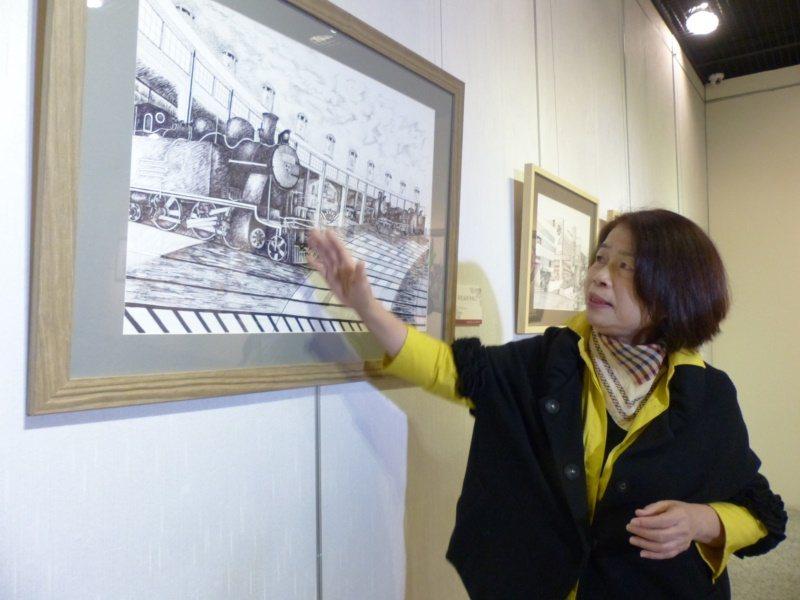 翁金珠筆下任內爭取保存的彰化扇形車庫。 圖/劉明岩攝影