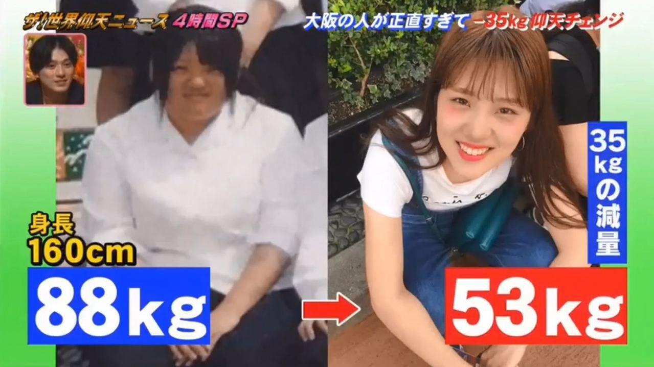 花了8個月,理加的體重由88kg減至53kg,一共減了35kg。 圖/影片截圖