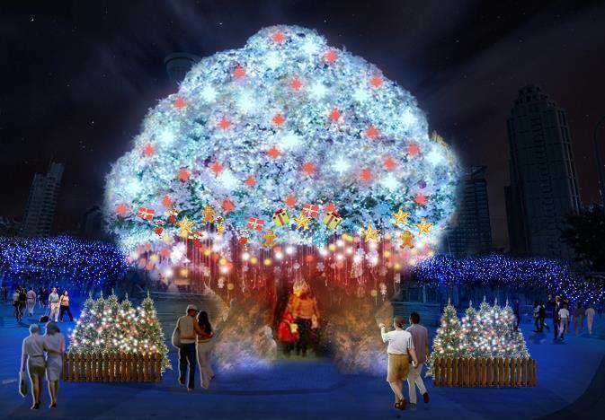 站前廣場燈區。 圖/2019新北耶誕城官網