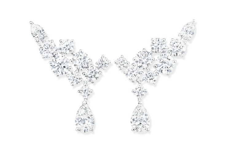 海瑞溫斯頓Sparkling Cluster絢漪錦簇系列鑽石耳墜,16顆圓形明亮...