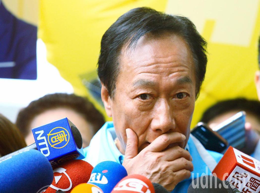郭台銘上午回應媒體,表示只要是跟他理念相同的、是中華民國派,就會呼籲眾人支持。記...