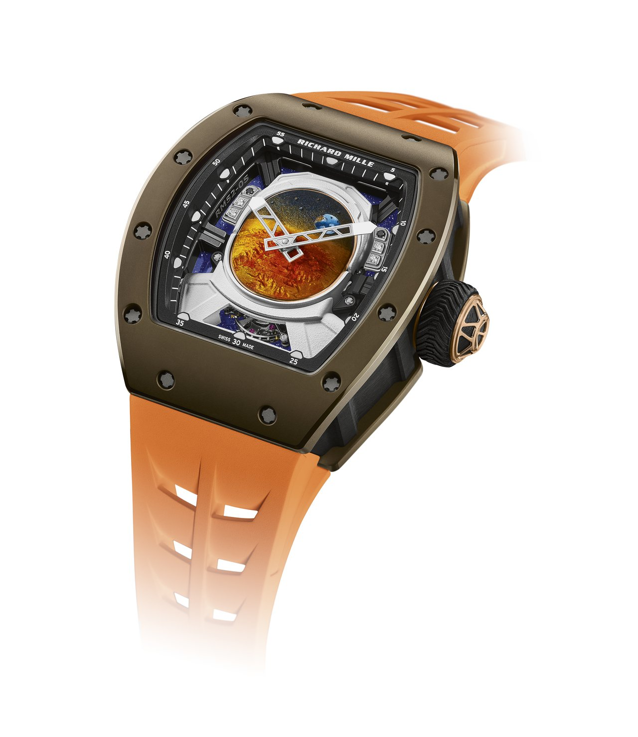 RM 52-05 Pharrell Williams陀飛輪腕表,表殼為棕金屬陶瓷...