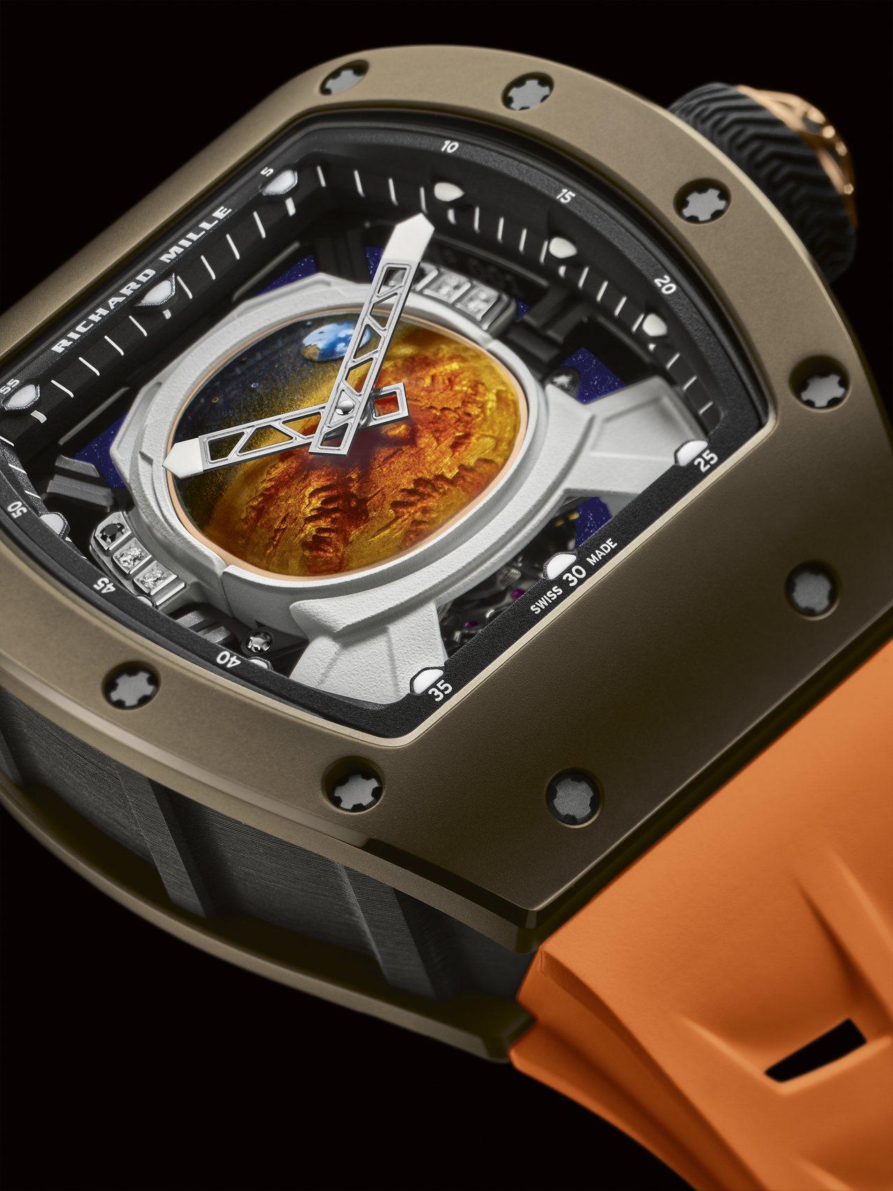 細看RM 52-05 Pharrell Williams陀飛輪腕表的指針配置,不...