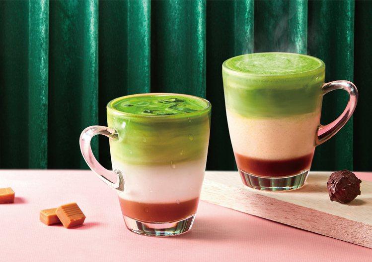 醇牛奶糖抹茶拿鐵(左)、醇榛果黑巧抹茶拿鐵(右)售價150元(冷/熱)。圖/辻利...