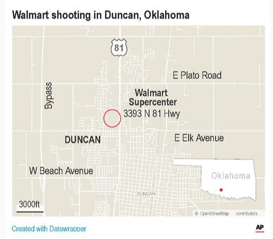 美國奧克拉荷馬州一家沃爾瑪(Walmart)門市槍擊案,有3人喪生。 美聯社