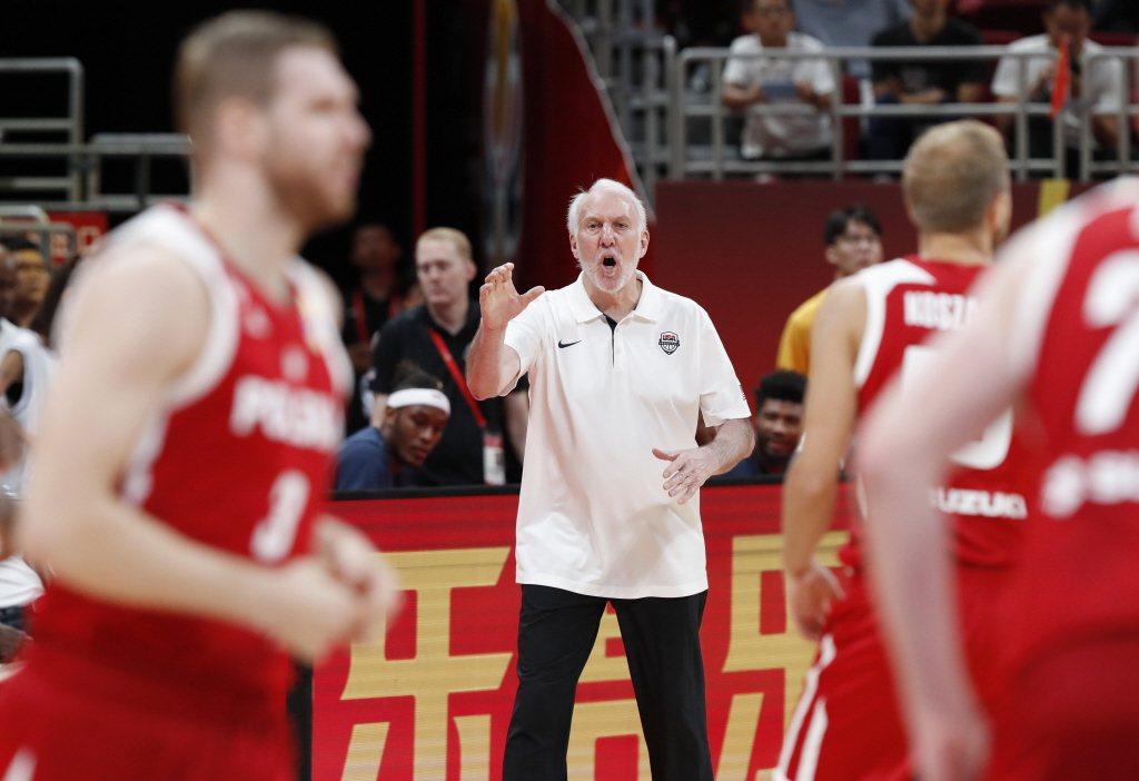 本屆中國世界盃,因美國眾球星未能代表國家出賽,因而落得第7名的處境。圖為美國隊總教練波波維奇。 圖/路透社