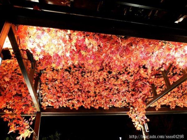 抬頭一看,「足湯亭」棚頂掛滿了迷人的紅色楓葉,打上燈光特別有感覺,好讓人陶醉於其中