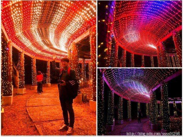 小橋另一端遇見浪漫程度爆表的星光廊道,不斷更換燈光效果,看了好陶醉呀!