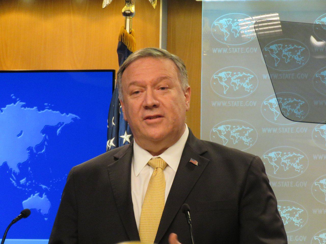 美國務卿龐培歐18日舉行記者會談及香港情勢,呼籲各方克制。華盛頓記者張加/攝影