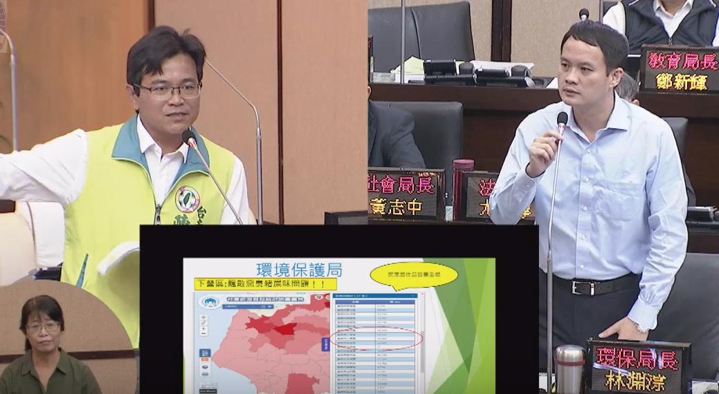 民進黨台南市議員陳秋宏(左)要求環保局長林淵淙(右)協助改善下營豬臭味問題。記者...