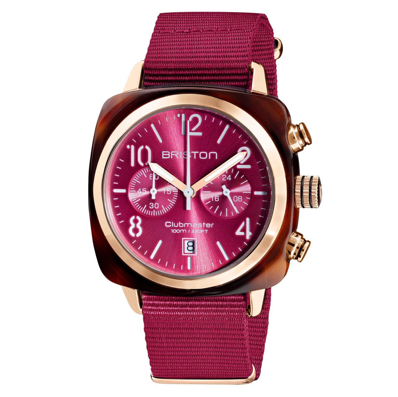 Briston Clubmaster系列莓果色計時碼表,12,000元。圖/麥迪...