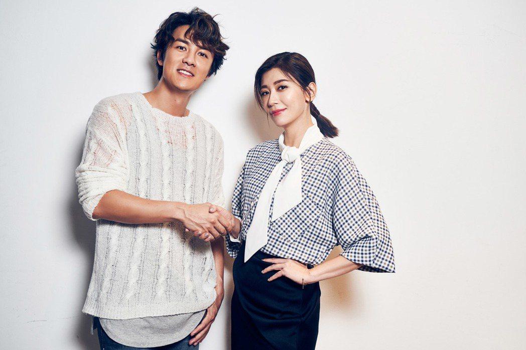 吳克群(左)邀來賈靜雯擔任新歌MV女主角。圖/何樂音樂提供