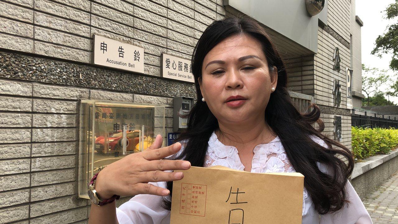 國民黨籍立委參選人林燕祝下午到南檢按鈴提告,希望檢方能還她一個公道。記者邵心杰/...