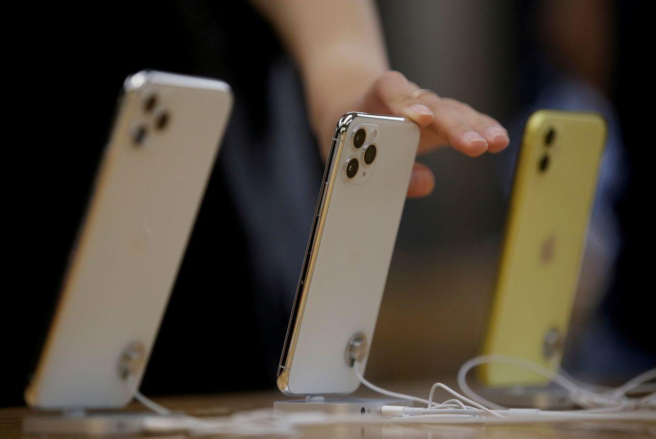 圖為蘋果iPhone 11系列手機。路透