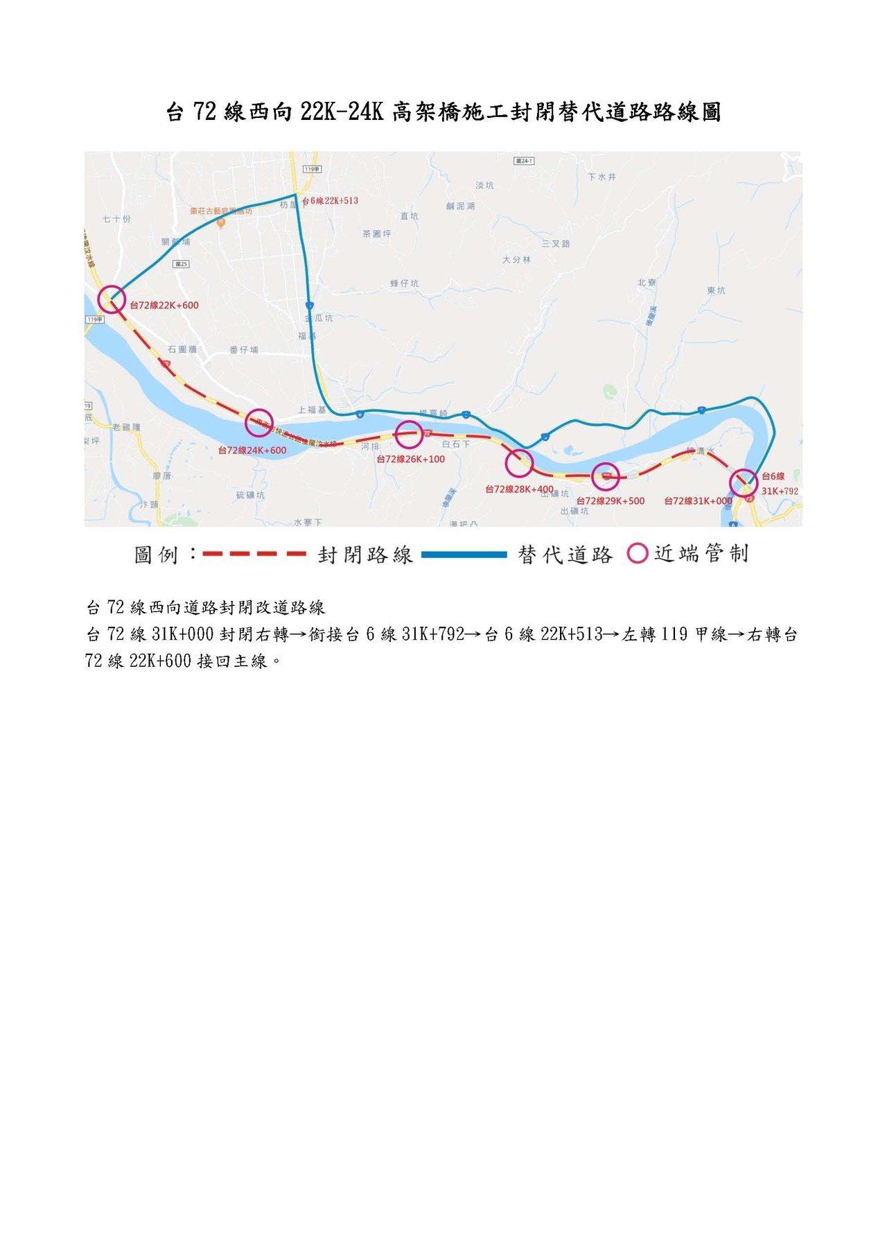 交通部公路總局苗栗工務段台72線工程,11月21日、22日上午9點至下午4點封閉...