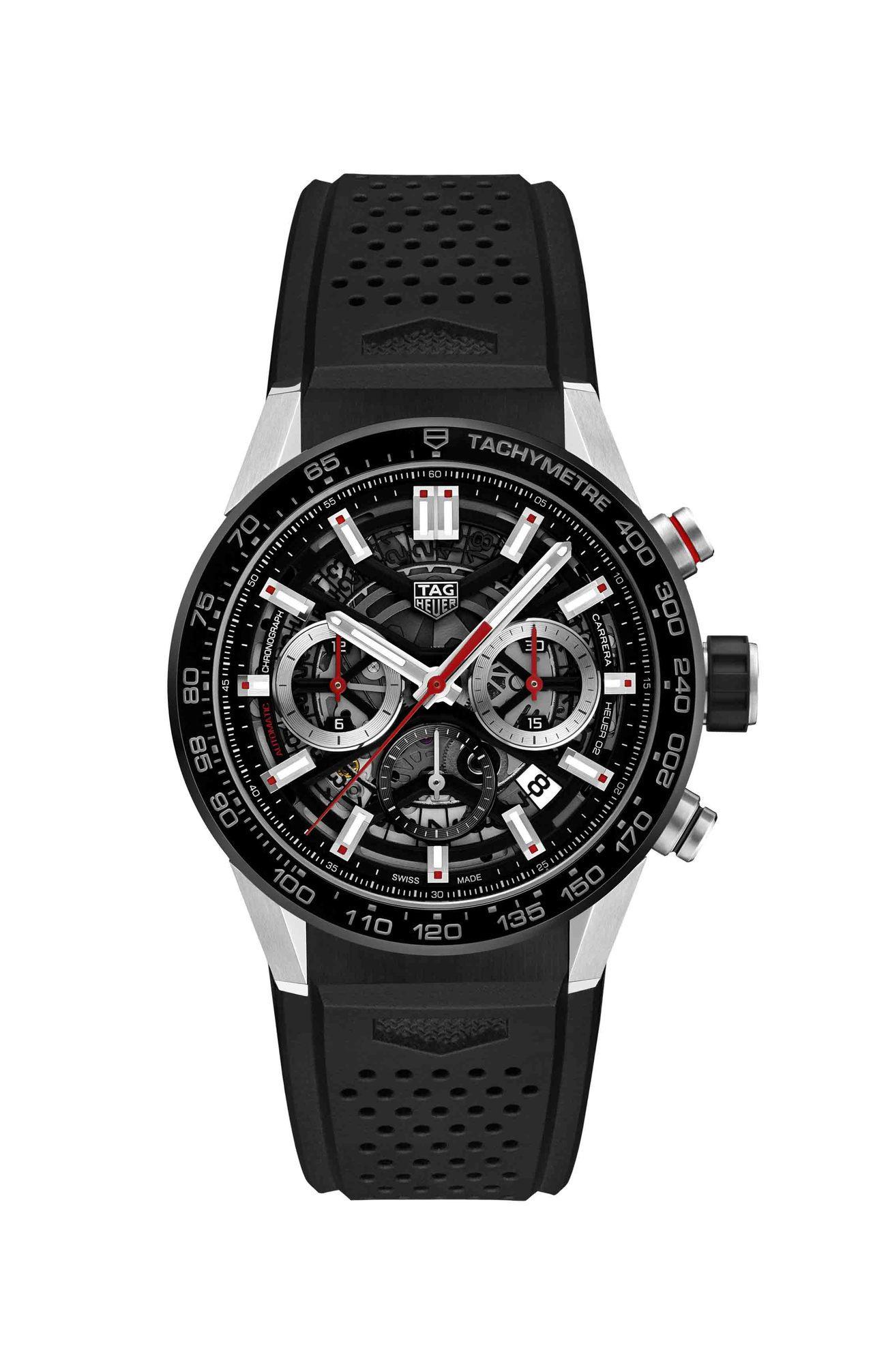 泰格豪雅Carrera Calibre Heuer 02自動計時碼表,不鏽鋼表殼...