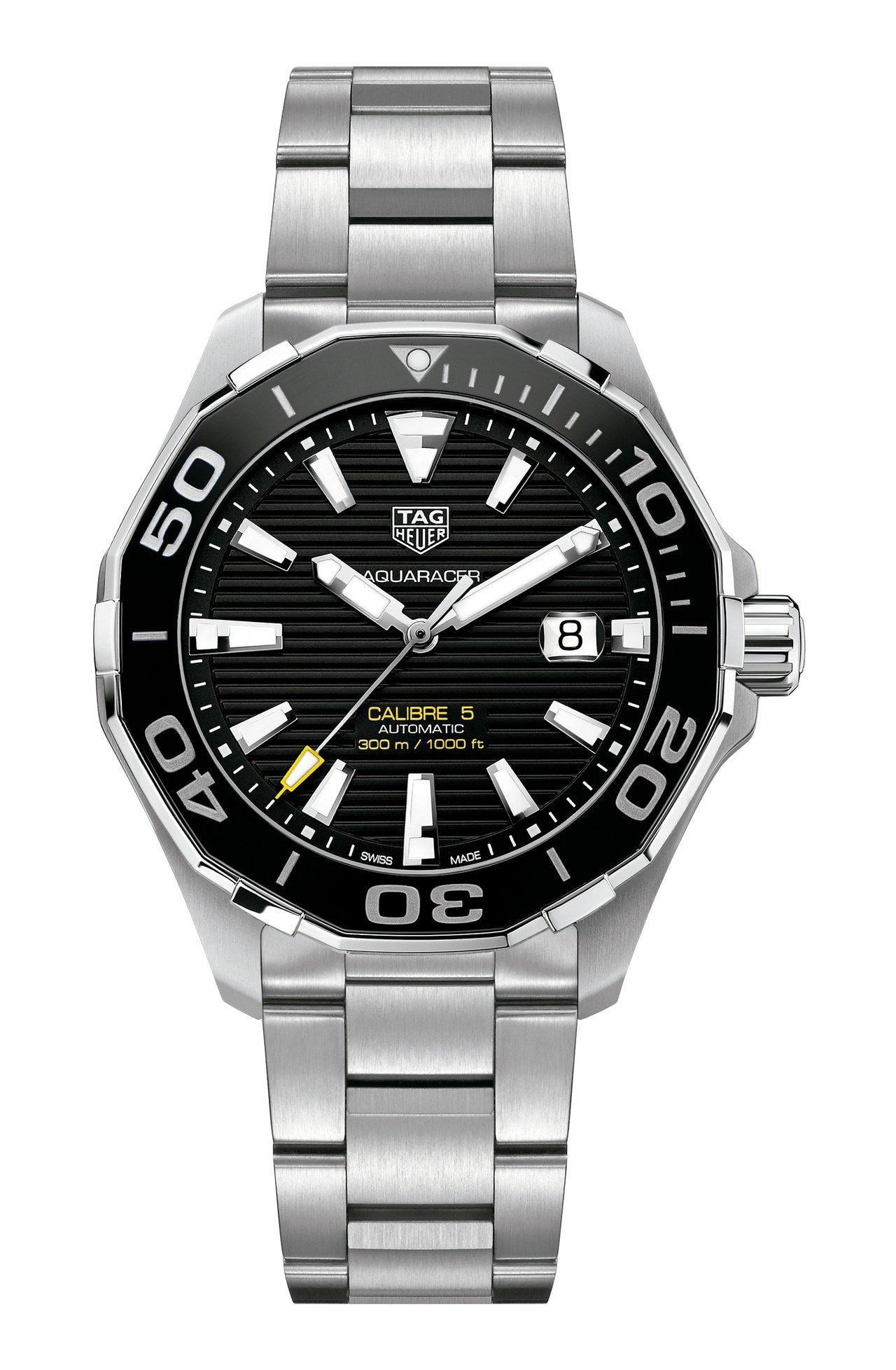 泰格豪雅Aquaracer Calibre 5自動腕表,不鏽鋼表殼、表鍊,約87...