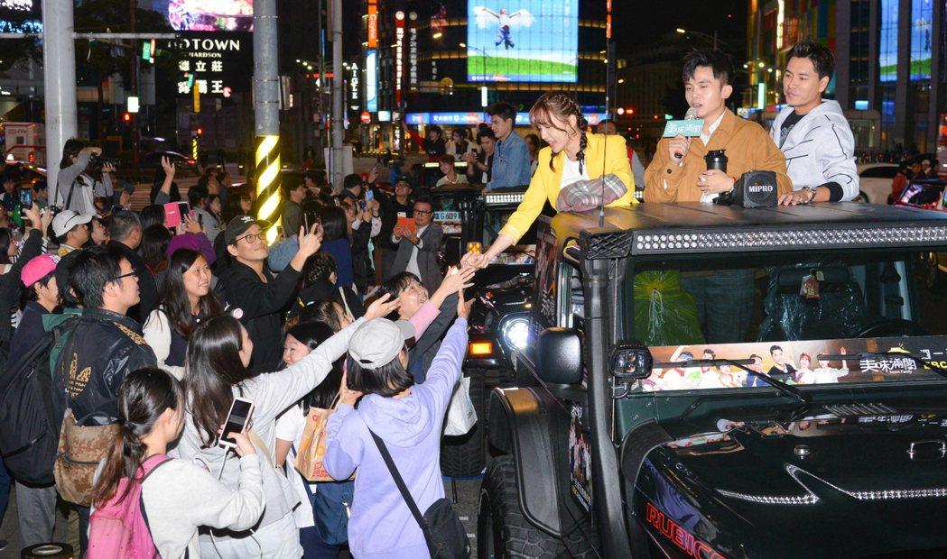 王傳一(右起)、黃豪平、魏蔓為新戲「美味滿閣」宣傳造勢。圖/東森提供