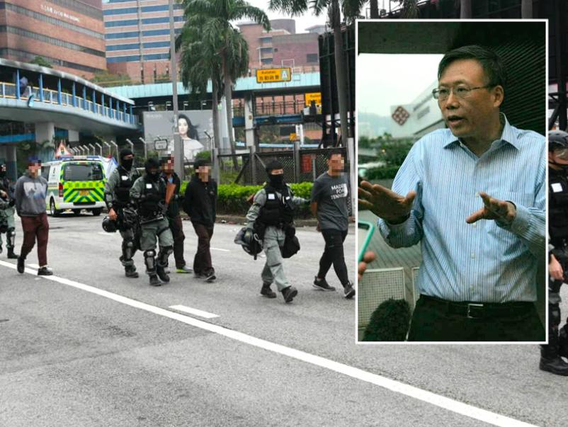 香港理工大學校長滕錦光現身校園,他表示,希望示威者都在今日內主動和平離開。(星島...