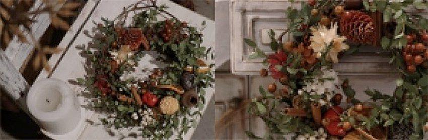 森林系松果耶誕花圈。 有肉Succulent & Gift/提供