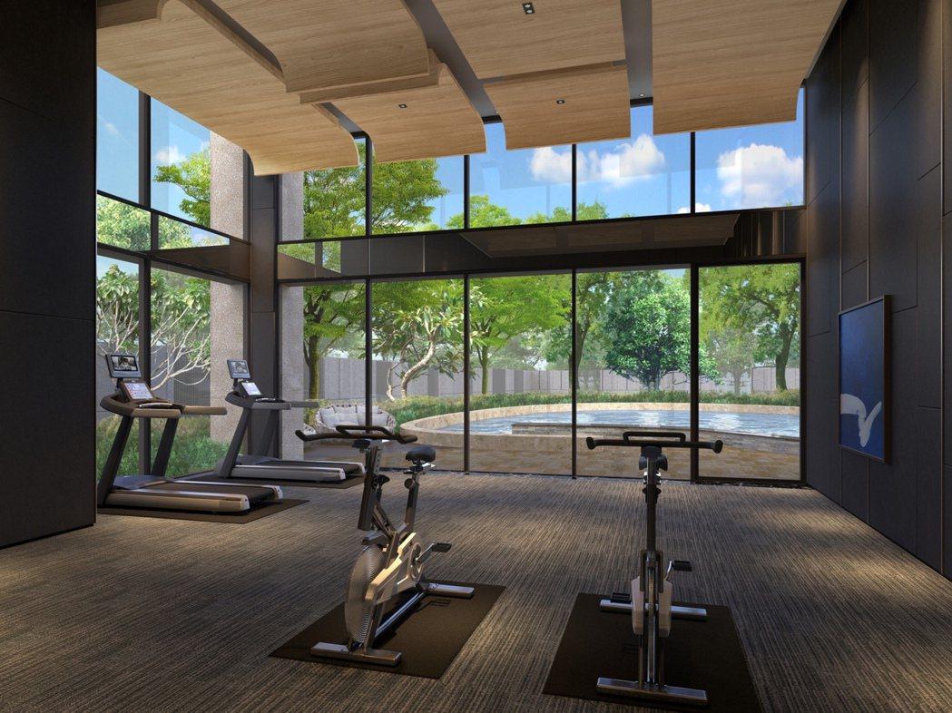 女書法家岡西佑奈的《青曲-02》作品規劃展示在健身房。 圖片提供/清景麟地產