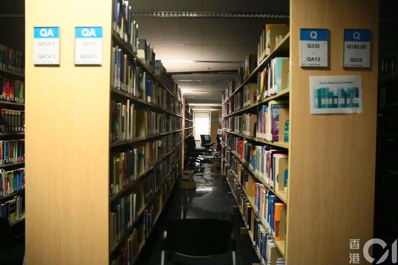 書櫃附近的地板因漏水而濕透,但架上的書大致完好。圖擷自香港01