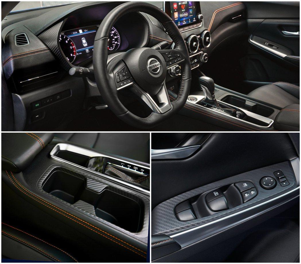 平把方向盤加上眾多的類碳纖維飾板,為Sentra的駕駛艙添加濃濃的運動氣息。 摘...