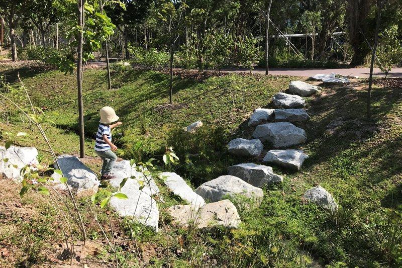 孩子能跳過一顆顆石頭,通過仿造的小溪河床。 圖/作者提供