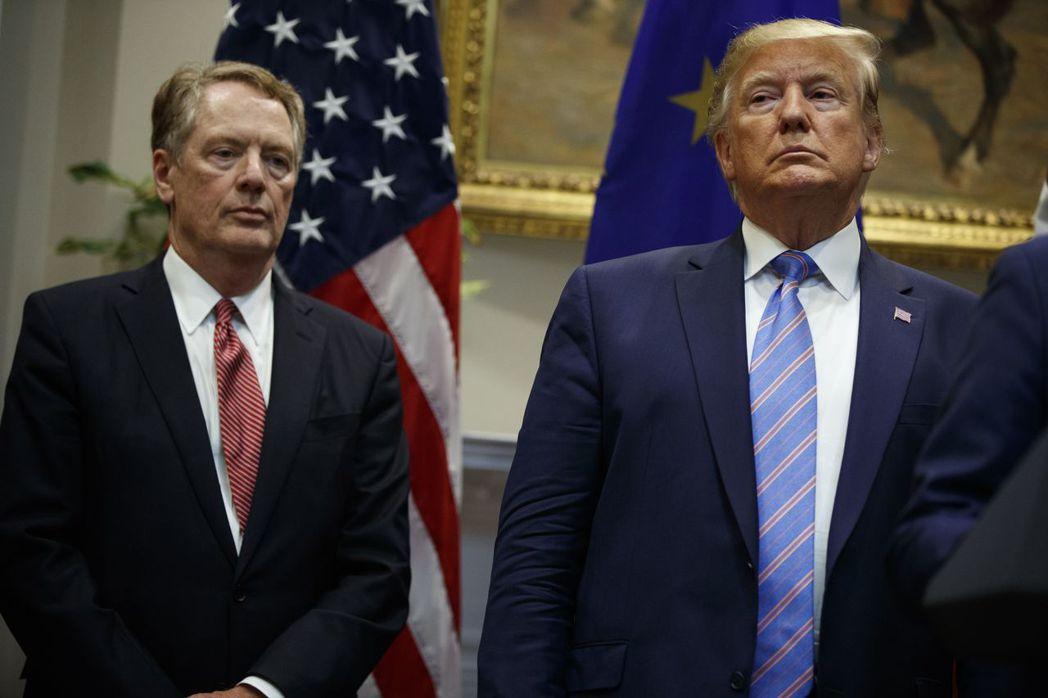 美國政府就第一階段協議應所占整體協議比率多少呈現紛歧,美國貿易代表賴海哲(左)主...
