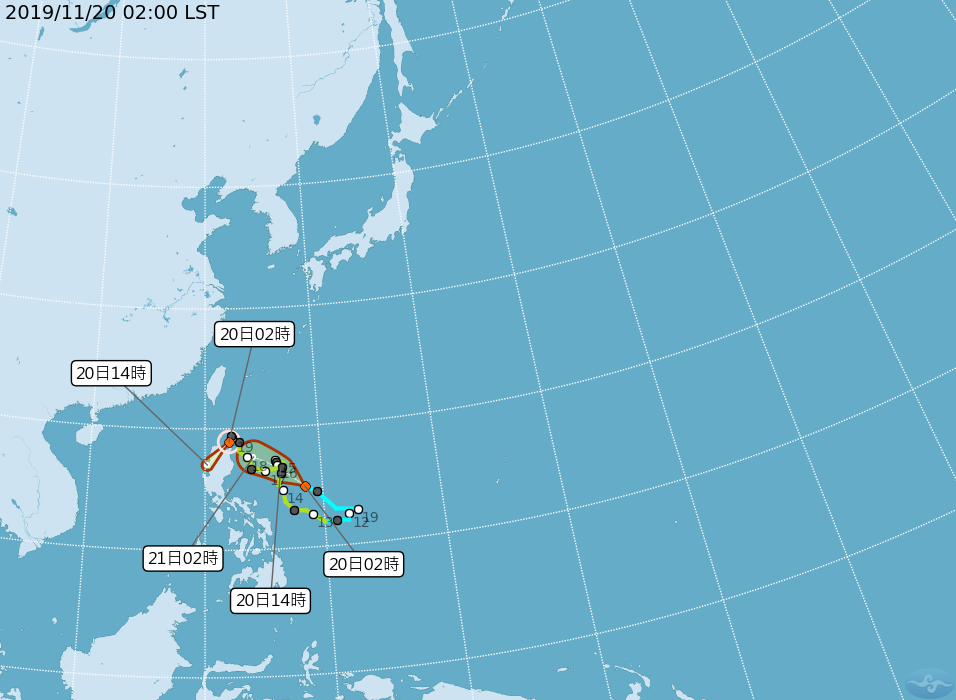 中央氣象局今晨2時路徑潛勢預測圖顯示,第26號颱風海鷗,正向西南朝呂宋島前進,將...