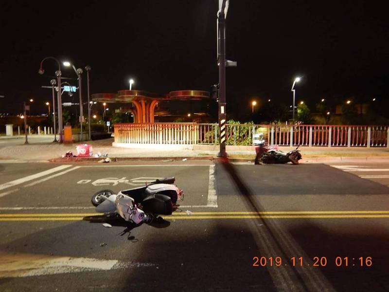 台中市西屯區黎明路、僑大三街今天凌晨發生一起外送員互撞的交通事故。記者陳宏睿/翻攝