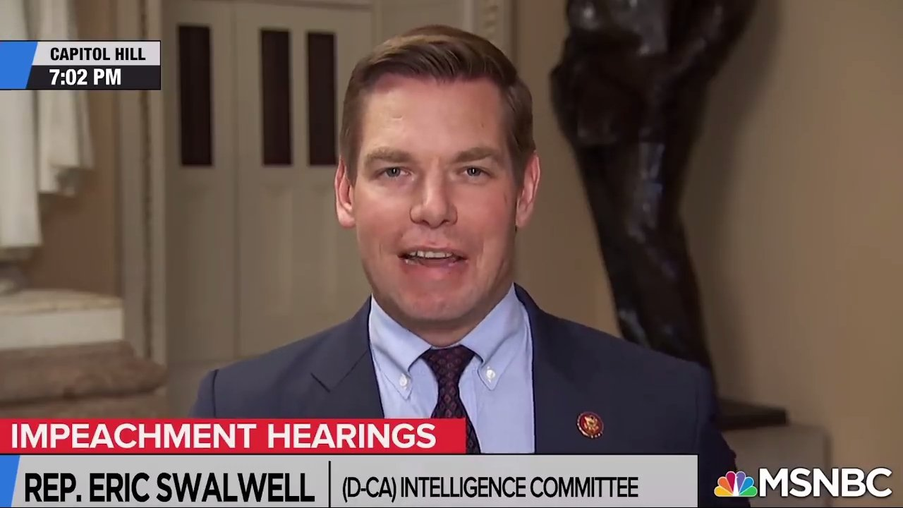 美國民主黨加州聯邦眾議員史沃威爾(Eric Swalwell),18日晚間接受《...