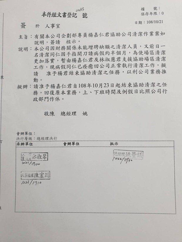 台北畜產運銷公司傳出前總經理楊嘉仁降為專員後,10月還被安排去掃廁所、洗地板等清...